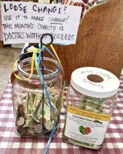 Loose change jar for charity